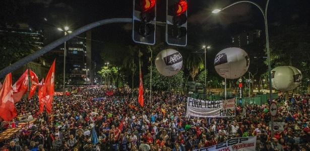 Manifestação em protesto contra as reformas do governo Temer em março deste ano