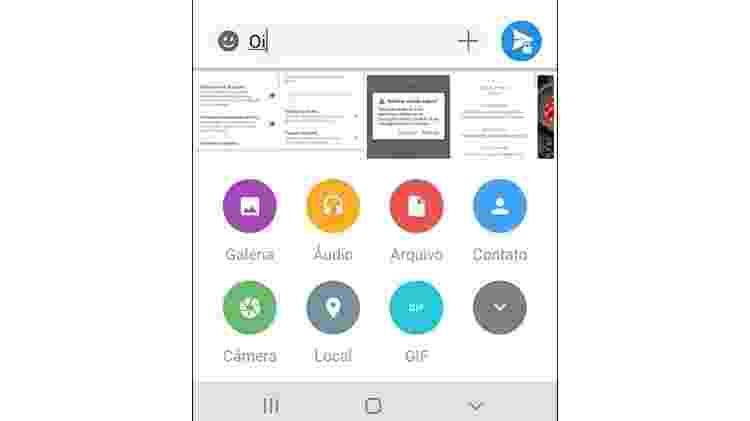 Campo para enviar arquivos é muito parecido com o modelo do WhatsApp e do Telegram - Reprodução