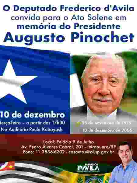 Alesp organiza homeangem a Pinochet - Reprodução