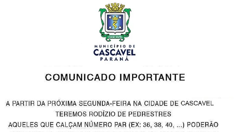 Fake news que circula em redes sociais indica rodízio de pedestres em Cascavel, no Paraná - Reprodução