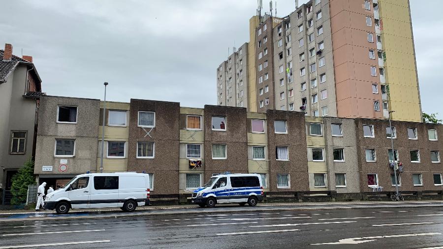 18.jun.2020 - Vista de apartamentos onde pessoas fazem quarentena após dezenas delas testarem positivo para coronavírus em Goettingen, Alemanha - Annkathrin Weis/Reuters