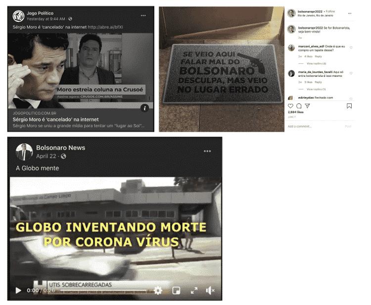 Imagens mostram memes políticos de contas derrubadas pelo Facebook ligadas ao presidente Jair Bolsonaro e PSL - Divulgação/Facebook - Divulgação/Facebook