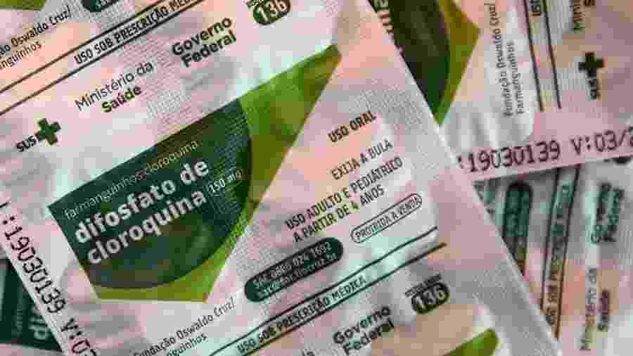 Pacotes de cloroquina distribuídos pelo Ministério da Saúde em hospital de Porto Alegre - DIEGO VARA