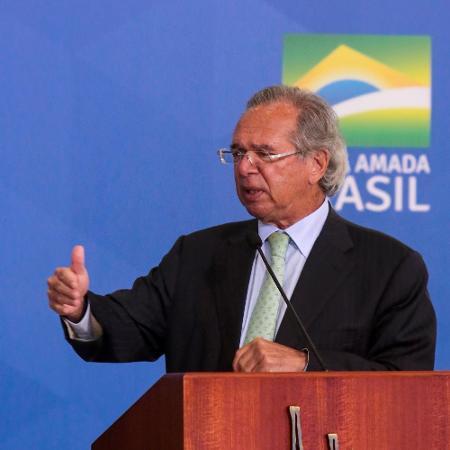 O ministro da Economia, Paulo Guedes, durante cerimônia no Palácio do Planalto - Wallace Martins/Futura Press/Estadão Conteúdo