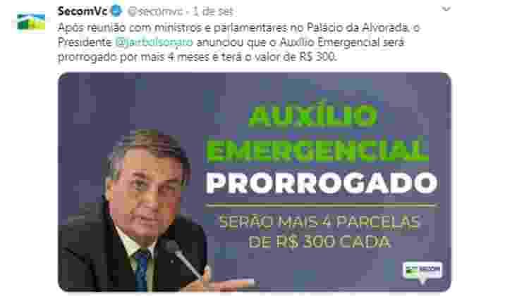 Postagem de 01.Setembro.2020 na página da Secom do governo Bolsonaro - Reprodução - Reprodução