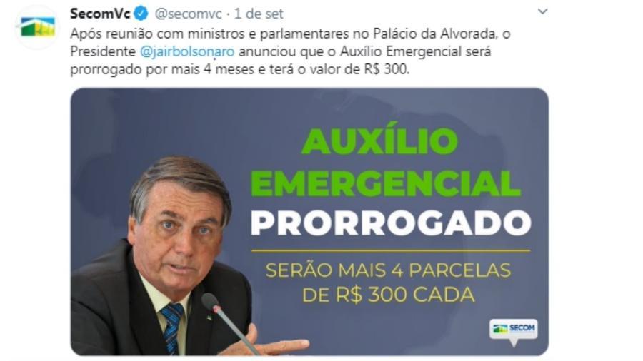 Postagem de 01.Setembro.2020 na página da Secom do governo Bolsonaro - Reprodução