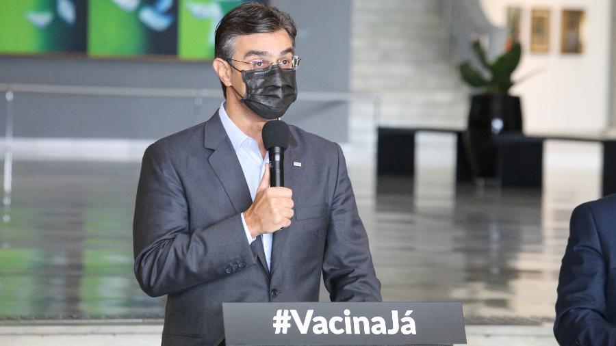 19.mar.2021 - Rodrigo Garcia (DEM), vice-governador de São Paulo, comanda coletiva de imprensa sobre a pandemia no Palácio dos Bandeirantes - Divulgação/Governo do Estado de São Paulo