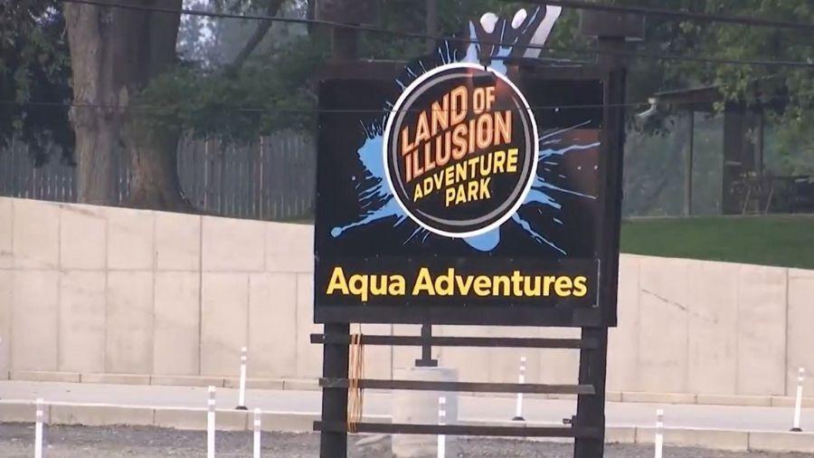 Fachada do parque aquático Land of Illusion, em Ohio (EUA) - Reprodução/WGN9 TV