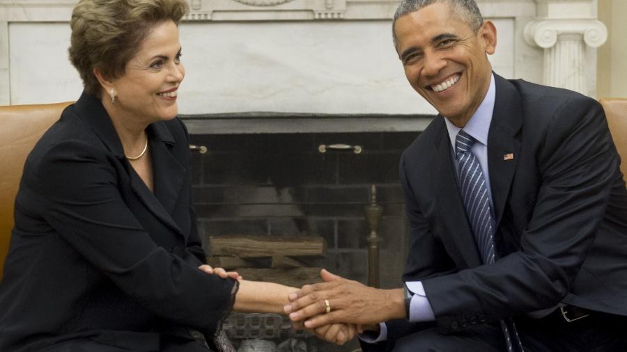 30.jun.2015 - Dilma Rousseff e Barack Obama em encontro na Casa Branca, em Washington - Saul Loeb/AFP