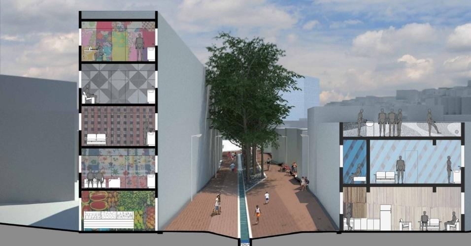 Desenvolvido para o programa de urbanização de favelas, da prefeitura, o projeto dos arquitetos propõe que o canal e suas margens se transformem em uma nova estrutura e em um novo espaço para o lazer do moradores. O canal passaria a contar com um galeria subterrânea capaz de suportar a vazão em épocas de cheia
