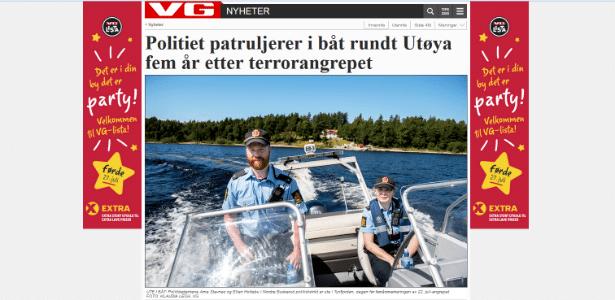 O policial Arne Stavnes apareceu no jornal Verdens Gang (VG) patrulhando as águas de Utoya sem o colete salva-vidas