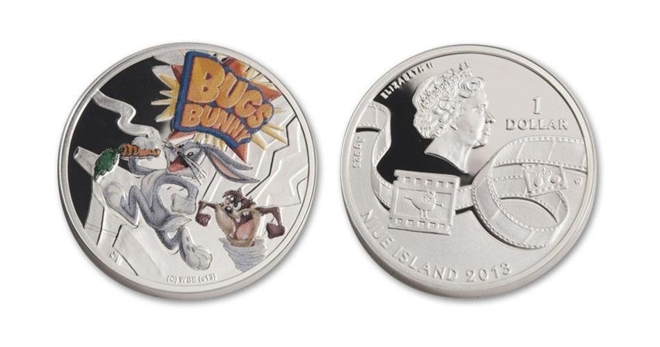 Moeda de 1 dólar de Niue, ilha no Pacífico que é um território associado da Nova Zelândia, estampada com os personagens Pernalonga e Taz; a edição faz parte de uma série especial em homenagem ao coelho dos desenhos animados