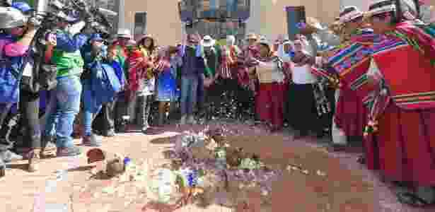 2.fev.2017 - O presidente boliviano, Evo Morales, participa da cerimônia de inauguração do Museu da Revolução Democrática e Cultural, em Orinoca - Freddy Zarco/ABI - Freddy Zarco/ABI