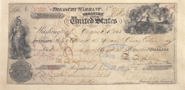 Foto sem data do cheque americano de US$ 7.200 (US$ 125 miilhões em dólares corrigidos para 2017, ou quase R$ 400 milhões) usado para comprar o Alasca da Rússia em 1867