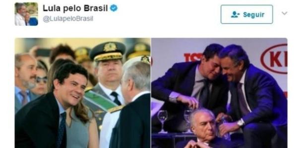 Lula se irrita com equipe e manda apagar postagem que exibia Moro ao lado de Aécio e de Temer - Reprodução