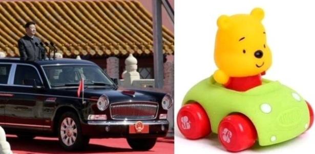 """Quando Xi Jinping foi discursar do alto da limusine presidencial durante uma cerimônia militar, uma foto de Pooh em seu próprio """"veículo"""" também se multiplicou nas redes sociais"""