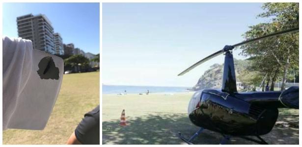 21.jul.2017 - Helicóptero fez um pouso forçado na praia de São Conrado, zona sul do Rio