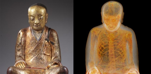 A estátua de Buda que contém os restos mortais do patriarca adorado na cidade chinesa de Yangchun