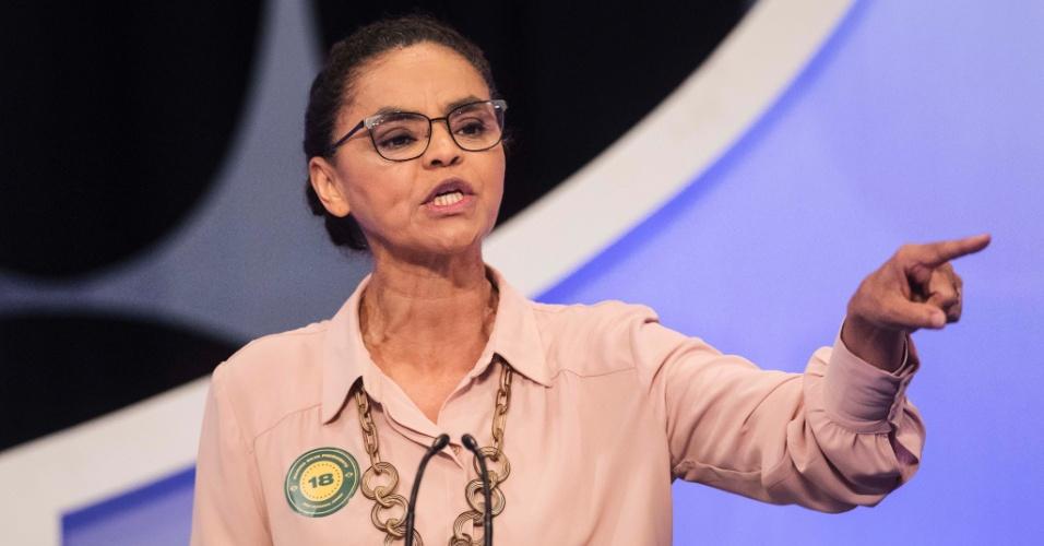 A candidata Marina Silva (Rede) defendeu financiamento público e transparente de campanhas eleitorais e criminalização do caixa 2