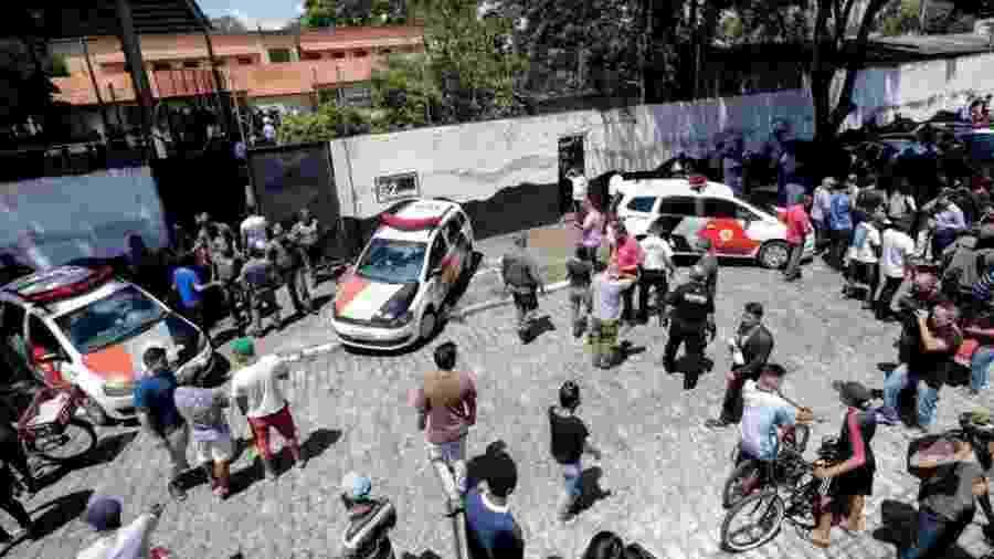O ataque a tiros na escola estadual Professor Raul Brasil, em Suzano, na Grande São Paulo, nesta quinta-feira (13) chocou o Brasil e o mundo - EPA/SEBASTIAO MOREIRA