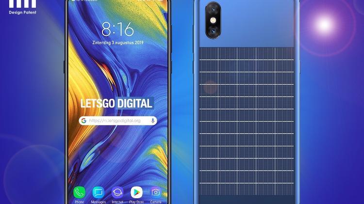 Imagem feita pelo site Lets Go Digital de como seria o smartphone da Xiaomi capaz de carregar bateria com energia solar - Reprodução/Lets Go Digital