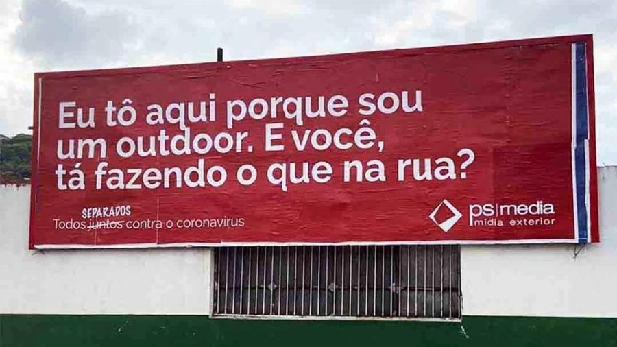 Outdoor em Santos sobre o coronavírus - Divulgação