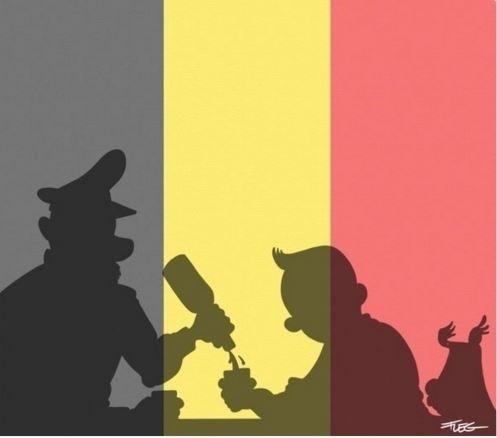 22.mar.2016 - O cartunista canadense Fleg usou o personagem Tintim e as cores da bandeira da Bélgica em solidariedade às vítimas do atentado em Bruxelas