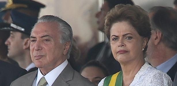 Desfile cívico-militar do dia da Independência, em 2015, quando Dilma Rousseff era presidente e Michel Temer, vice