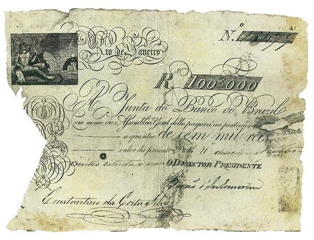 Primeiro bilhete lançado no país, precursor das atuais cédulas. Eles foram emitidos pelo Banco do Brasil, criado por D. João VI, e colocados em circulação em 1810
