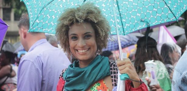 08.mar.2018 - Marielle Franco em ato do Dia Internacional da Mulher no Rio de Janeiro