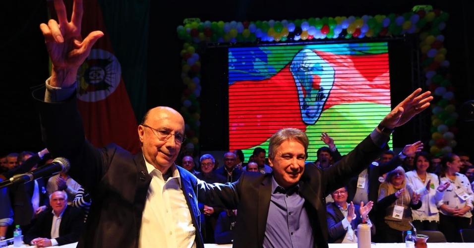 5.ago.2018 - O candidato à Presidência da República Henrique Meirelles (MDB) participou ao lado do vice, Germano Rigotto (MDB), da Convenção do MDB no teatro Dante Barone da Assembleia Legislativa do RS, em Porto Alegre, neste domingo