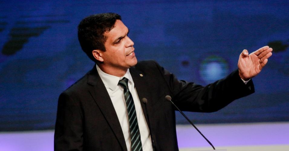 9.ago.2018 - Cabo Daciolo (Patriota) durante o debate Band 2018 com os candidatos a presidencia da republica, que acontece na TV Bandeirantes no bairro do Morumbi em São Paulo nesta quinta