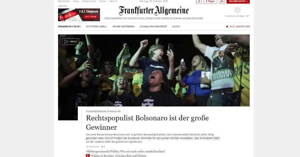 """Frankfurter Allgemeine (Alemanha): """"o populista de direita Bolsonaro é o grande vencedor"""""""