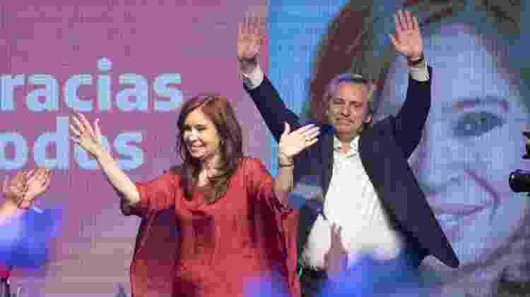 Cristina Kirchner e Alberto Fernández na comemoração em Buenos Aires da vitória de sua chapa na eleição presidencial da Argentina - Martin Zabala - 27.out.2019/Xinhua
