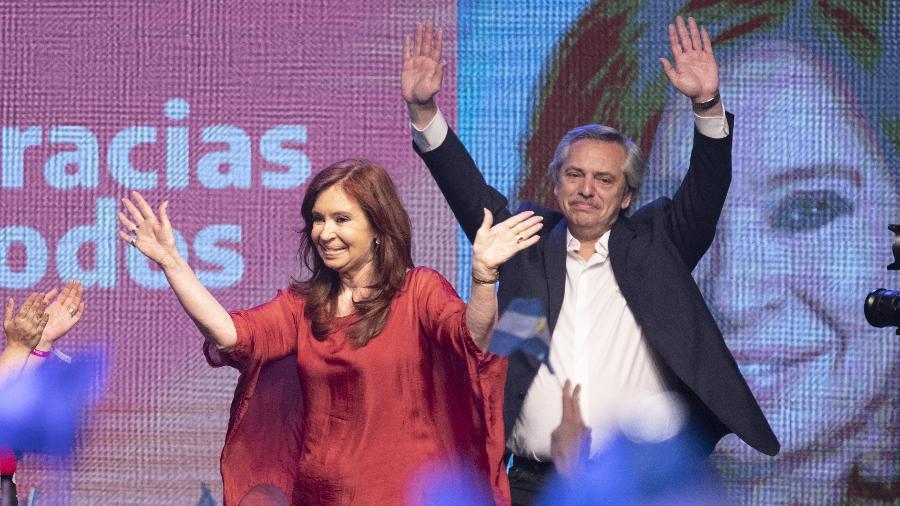 Cristina Kirchner e Alberto Fernandez na comemoração em Buenos Aires da vitória  - Martin Zabala - 27.out.2019/Xinhua