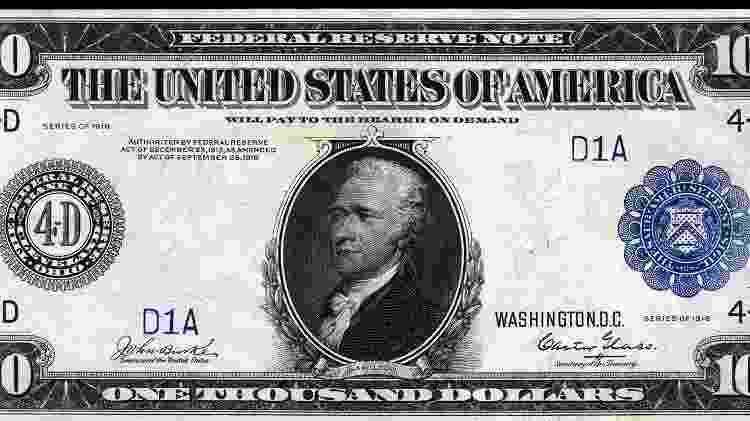 Nota de 1.000 dólares impressa em 1918 - Reprodução - Reprodução