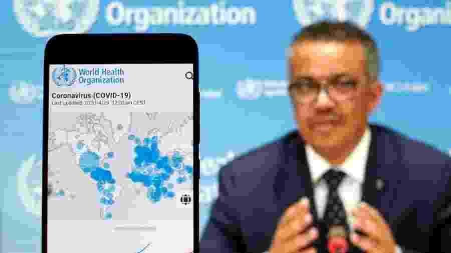 29.abr.2020 - O diretor-geral da OMS (Organização Mundial da Saúde), Tedros Adhanom Ghebreyesus, durante coletiva de imprensa - Pavlo Gonchar/SOPA Images/LightRocket via Getty Images