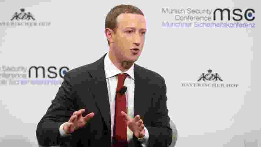 15.fev.2020 - Marck Zuckerberg, diretor executivo do Facebook, em evento na Alemanha  - Johannes Simon/Getty Images