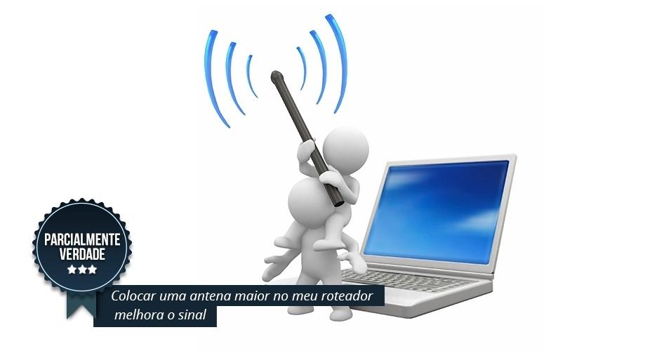 """PARCIALMENTE VERDADE: A medida, segundo Wilson Cardoso, diretor de tecnologia para a América Latina da Nokia Networks, pode aumentar o alcance da transmissão e melhorar o sinal. """"Imagine uma avenida com duas pistas e outra com quatro. O fluxo de passagem é maior naquela com maior espaço, não? É o mesmo princípio da antena"""", explica ele. Não significa, no entanto, que qualquer antena pode assumir essa função. É preciso que seja adaptável ao roteador. Caso contrário, não terá nenhuma utilidade e, ao invés de ajudar, vai acabar prejudicando o sinal"""". Vale lembrar ainda que a localização do equipamento continua sendo o maior influenciador do resultado final. Ou seja, não adianta aumentar o alcance, se você não eliminou os obstáculos que impedem que o sinal do seu Wi-Fi se propague pelos cômodos"""