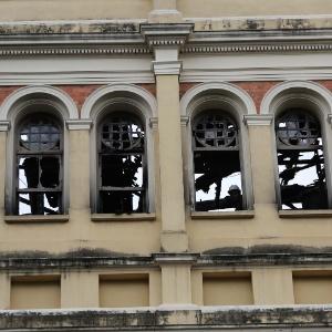 Parte atingida pelo incêndio no Museu da Língua Portuguesa - Renato S. Cerqueira/Futura Press/Estadão Conteúdo