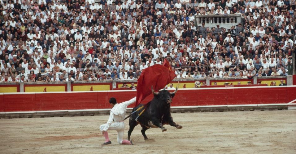 27.jul.2016 - Olé! Toureiro dribla animal durante tourada em Pamplona, na Espanha. No mês de julho, Pamplona tem uma festa de 9 dias em homenagem a San Fermin, padroeiro da cidade, com touradas e uma corrida de touros