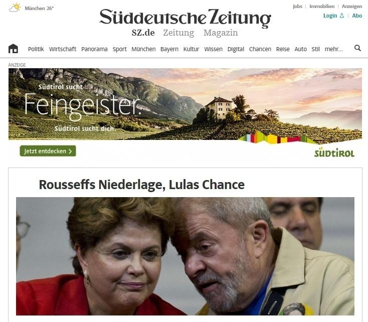 """Derrota de Rousseff, chance de Lula"", diz a manchete do site do jornal alemão ""Süddeutsche Zeitung"""
