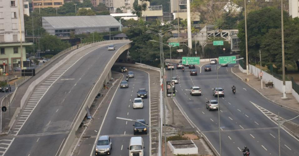 Na manha desta terça feira (29), em São Paulo, trânsito tranquilo em vias que normalmente tem trânsito intenso São Paulo