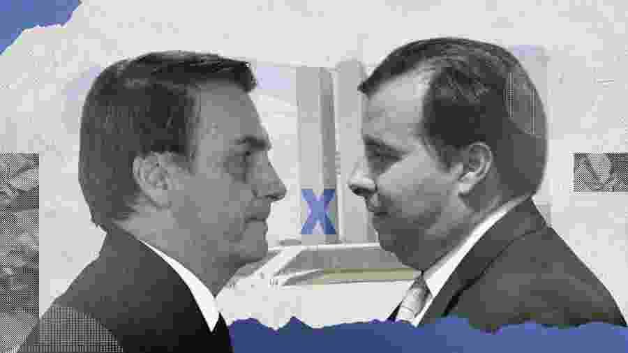 O presidente Jair Bolsonaro (PSL) e o presidente da Câmara, Rodrigo Maia (DEM-RJ) - Arte/UOL