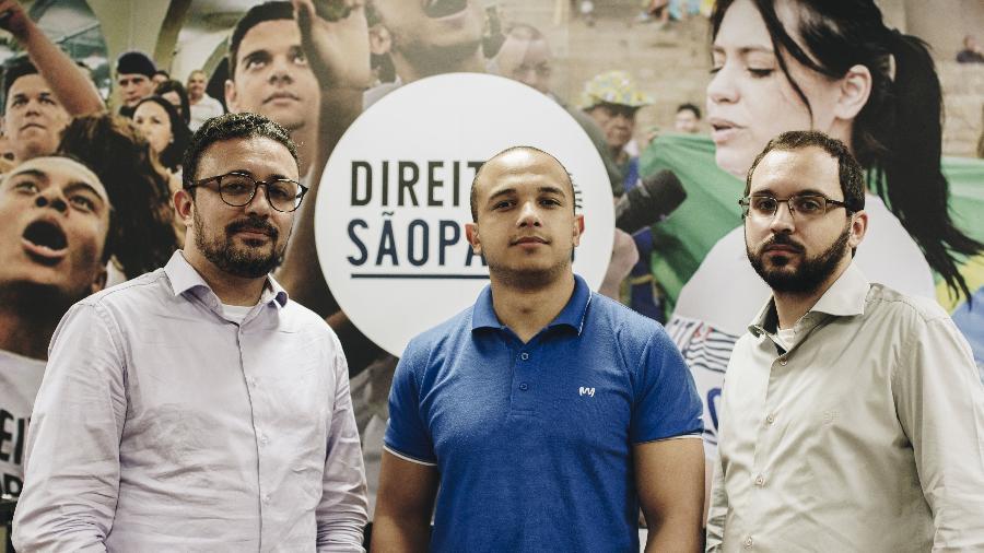 O corretor de seguros Edson Salomão, o deputado estadual Douglas Garcia e o advogado Jorge Luiz Saldanha (da esquerda para a direita): fundadores do Direita SP - Carine Wallauer/UOL