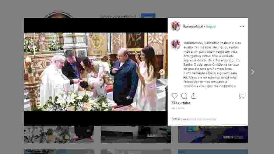 Filho do governador Ibaneis Rocha é batizado em igreja de Roma - Reprodução