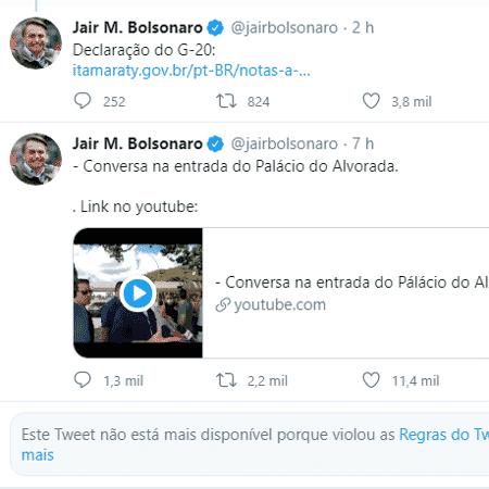 Tweet excluído de Bolsonaro - Reprodução/Twitter