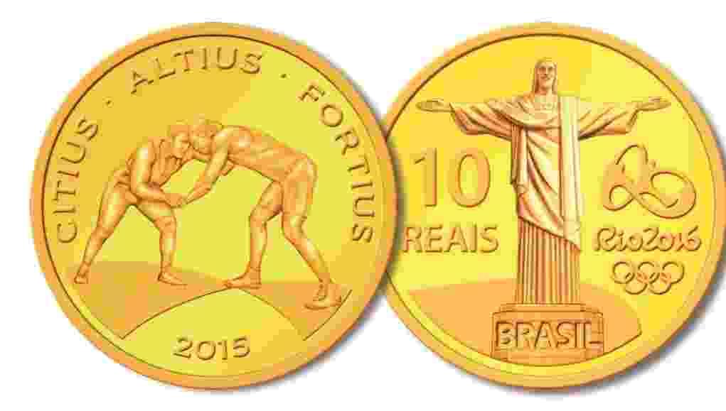 O Banco Central divulga a terceira leva de moedas para celebrar os Jogos Olímpicos e Paralímpicos do Rio de Janeiro; o Cristo Redentor e a modalidade Luta Olímpica são homenageadas nesta moeda de ouro que custa R$1.180 - Divulgação