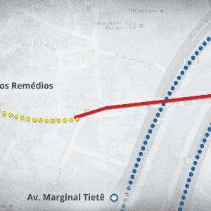Mapas ciclovia - Ponte dos Remédios - Arte UOL