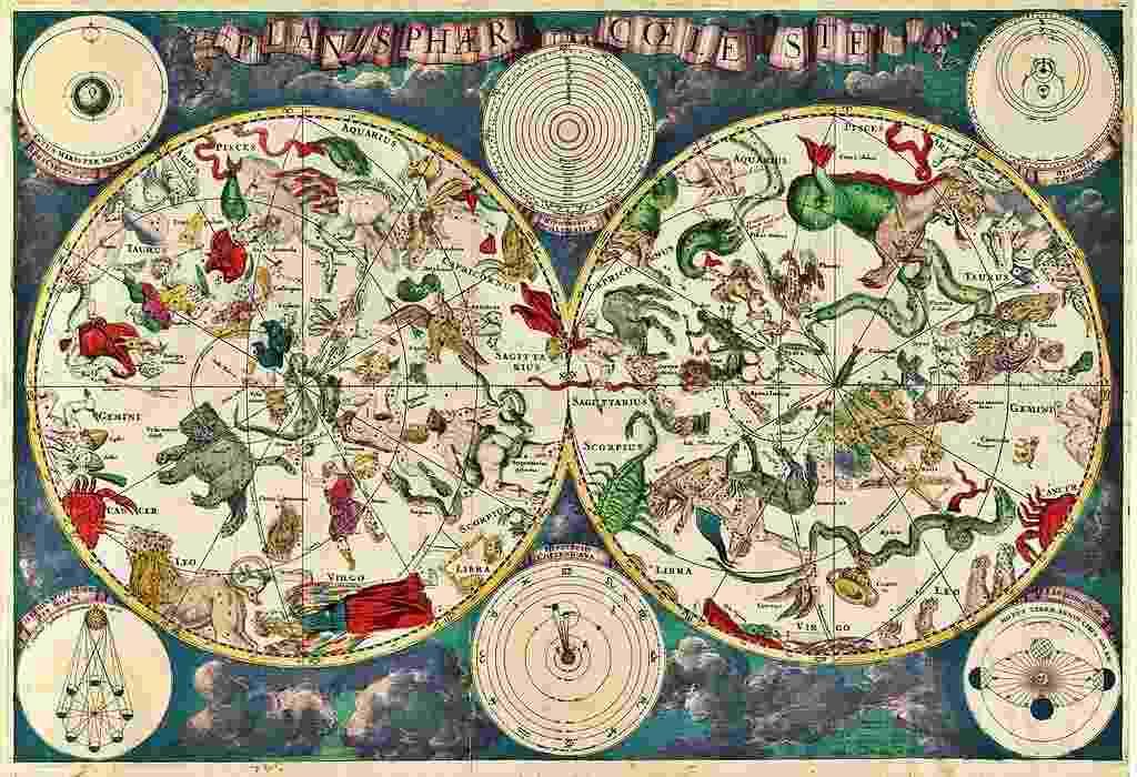 """MAPA DAS ESTRELAS - Os povos antigos, como os gregos e os babilônios, já conheciam as constelações e identificavam-as com """"cartas celestes"""". O mapa registrava a localização de estrelas conhecidas naquela época. Desde então, muitas outras foram feitas e atualizadas, como esta da foto, feita pelo cartógrafo holandês Frederik de Wit, no século 17. Atualmente é possível ver alguns mapas em aplicativos de celular - Reprodução/Wikimedia Commons"""